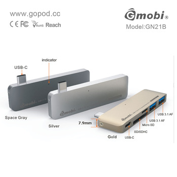 2015 New Arrival 5-in-1 Connection Kit USB-C Hub Magnetic Card Reader Made For Apple New MacBook - GN21B