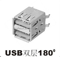 dual ports vertical A type usb connector / usb connector female