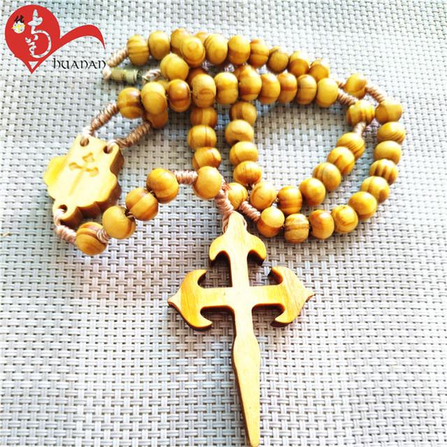2018 new design catholic 6mm wooden beads rosary