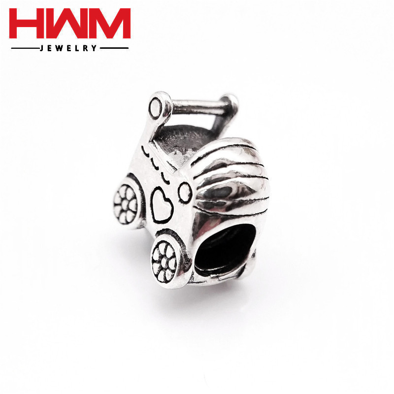 China Manufacturer direct price Popular metal Jewelry baby Stroller shaped sterling silver 925 bead charms for DIY bracelets