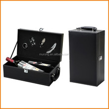 Black leather 2 grid wine box with handle