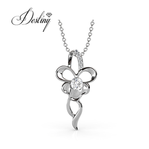 Destiny Jewellery Latest butterfly silver pendant gold plated necklace with Crystal from Swarovski