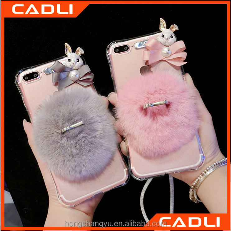 Rabbit fur lovely soft TPU silicone back cover phone case for iPhone 7