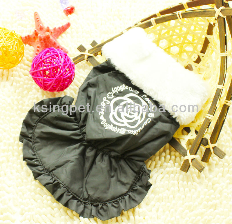 2013 Camellia Luxurious Fur Collar Dog Coat, Winter Dress For Beautiful Puppy Girls