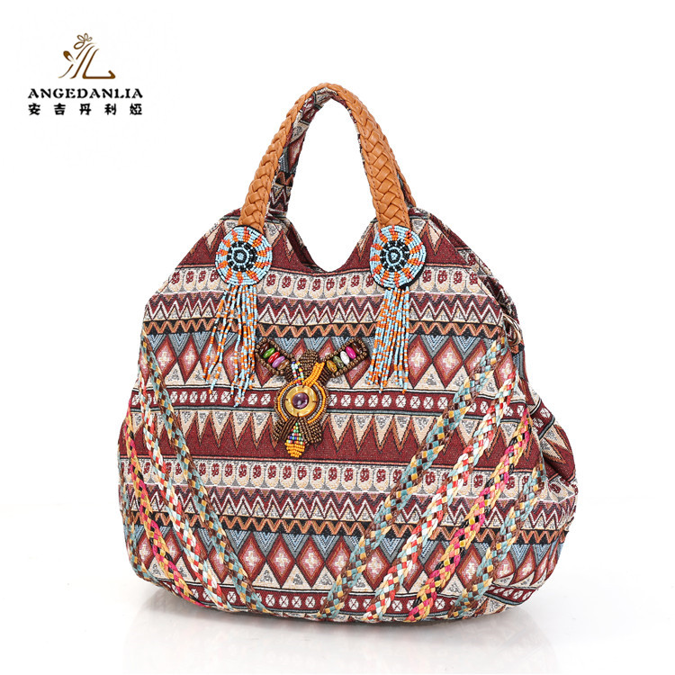 Ethnic boho vintage tribal jacquard fabric shoulder bags