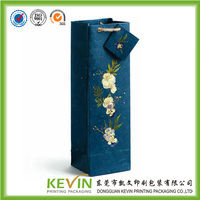 luxury high quality one bottle wine paper bag with small MOQ