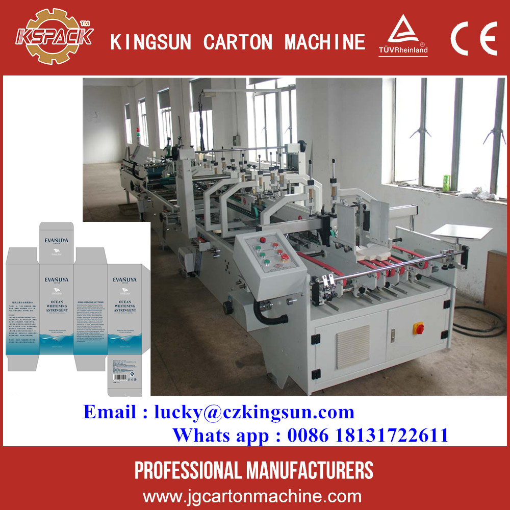 automatic small corrugated carton box folding gluing machine with lock bottom