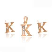 63999 Xuping elegant ladies jewelry K letter shaped rose gold plated jewelry set