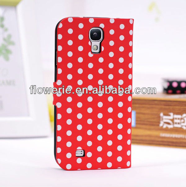 FL015 wholesale Polka Dot fashion hot selling wallet case for galaxy S4,stand pouch for samsung galaxy S4