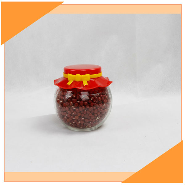 230ml Ball Shaped Glass Jars Plastic Seal Lids