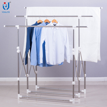 Multi-bar foldable telescopic clothes rack