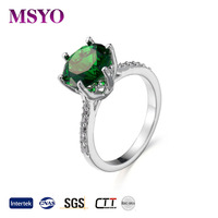 MSYO brand 2017 Europen new fashion womens emerald gemstone zircon ring jewelry