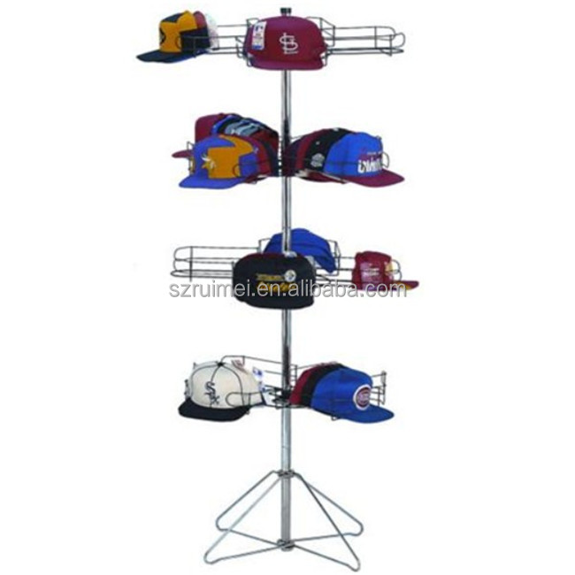New Style Revolvable 4 Tiers Detachable Baseball Cap Display Rack