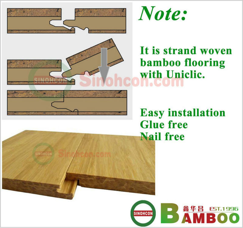 Top Quality High Density click strand woven bamboo flooring natural color