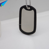 2016 aluminum blank military dog tag with black silicone silencer