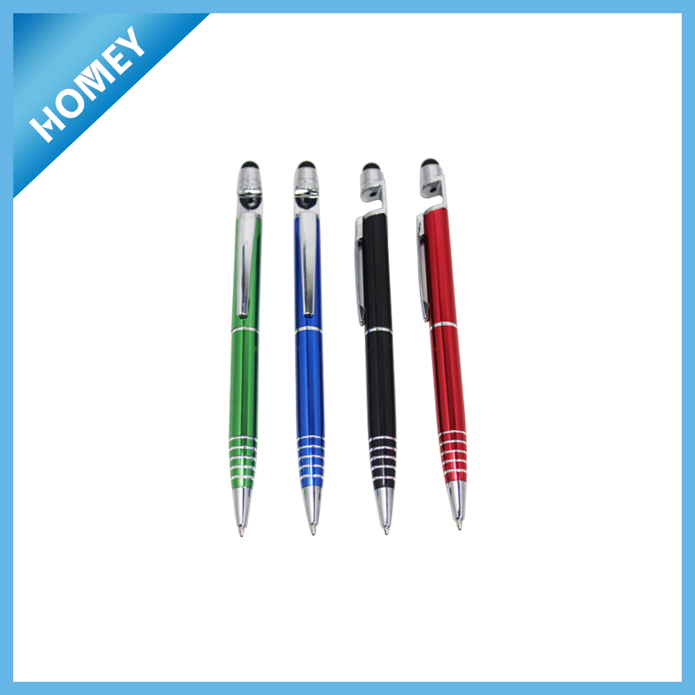 Custom design OEM metal pen with mobile phone holder and touch screen