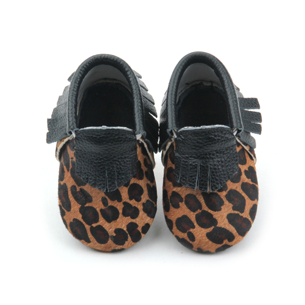 Baby Tassel Horse Hair Leather Casual Shoes Leopard Print Kids shoes