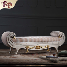luxury wooden bedroom furniture - hand carved leaf gilding classic bed end bench