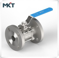 Factory Supply Stainless Steel CF8 Flanged Three-PC ball valve DN100 With High Mounting Pad