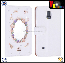White Luxury 3D Fashion Handmade Bling Crystal Rhinestone PU Leather phone Case Cover