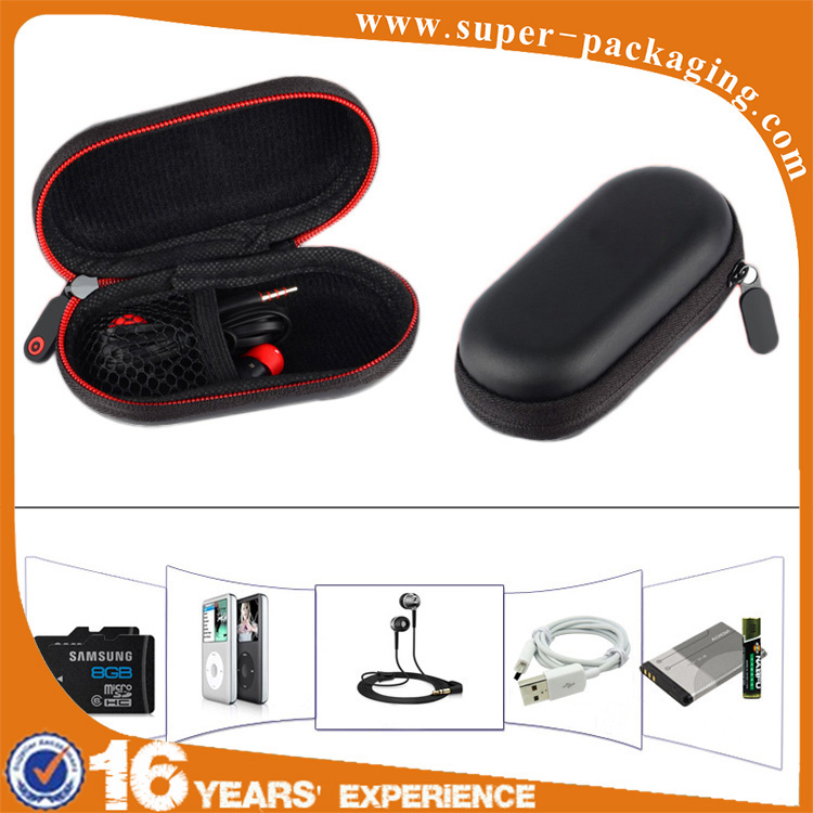 Custom packaging wholesale high quality black hard eva earphone carrying case