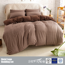 Cotton Jersey Bedding Set Wholesale Home Textile Knit Stripe Comforter/Dark Coffee Color Duvet Cover Set