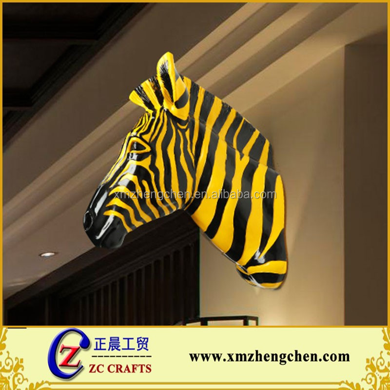 Famous Resin Zebra Horse Head Sculpture Custom Size and Design Wall Decoration