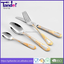 4pcs luxury gold and satin plated stainless steel cutlery set wooden box