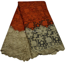 Red & Cream Guipure Lace Fabric / Water Soluble Fabric Embroidery / African Wedding Lace Dress High Quality