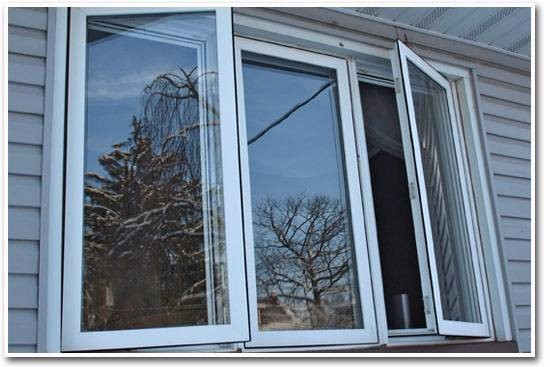 modern style casement glass window with aluminum bracket