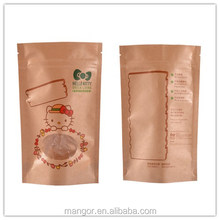 Food packaging bag zipper top plastic stand up kraft paper bag with window