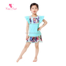 Cotton printing horse kids 2pc set wholesale for girls boutique clothing china