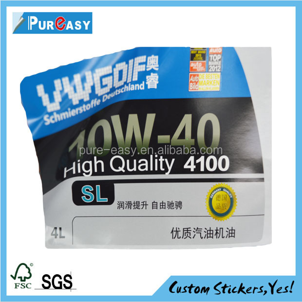 Water soluble glue Motor Oils label stickers/Packaging & Printing