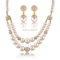 New products 2014 african jewelry sets 18k with pearl