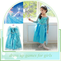 Long-Sleeve Winter Elsa Dresses Kids Clothes Children's Clothing Party Snow Queen dress up games for girls
