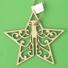 Christmas decoration supplies custom logo star pattern wooden ornaments