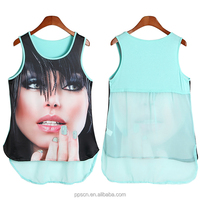 OEM Manufacturer wholesale Breathable sleeveless blue knit + chiffon tank women ladies top
