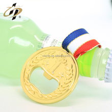 China factory professional cheap round shape zinc alloy gold medal wine beer bottle opener with ribbon