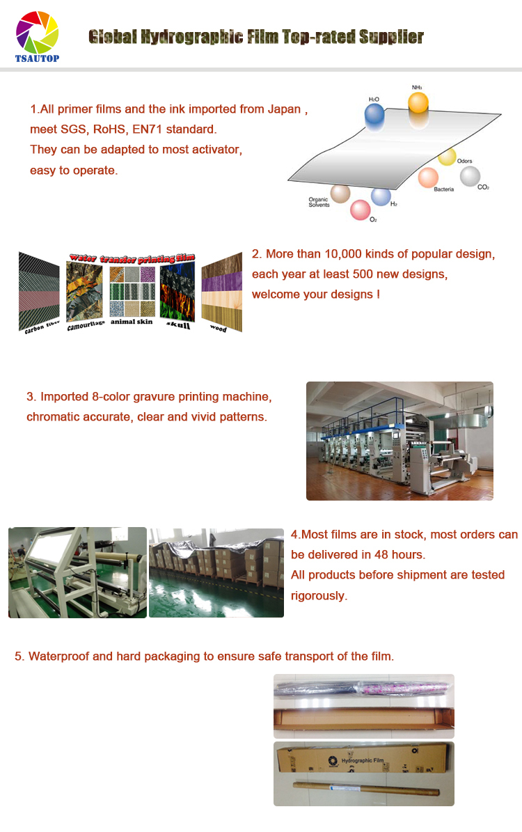TSAUTOP Royal patterns 1m Carbon fiber water transfer printing film Hydrographic Film