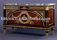 24K gold plated bronze and wooden French marquetry luxury home chest, decoration chest, side cabinet,buffet