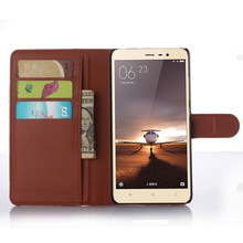 Lichee flip cover for xiaomi redmi note 3 leather case with card solt