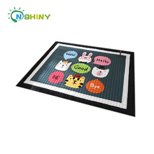 Black Square Animal Design Cotton Baby Play Mat Kids Crawling Pads Indoor Activity Floor Mat