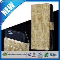 C&T Mobile phone genuine card slots wallet flip leather case for iphone 6