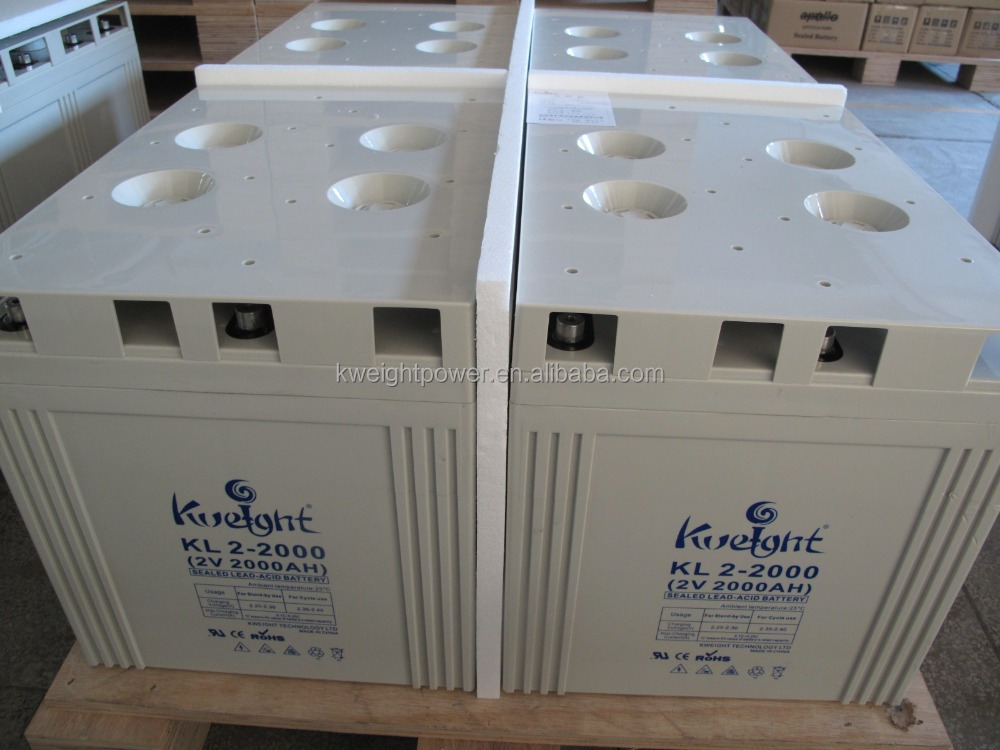 Kweight long life sealed lead acid battery 2V 2000AH solar , used in solar system / UPS / inverter / telecom