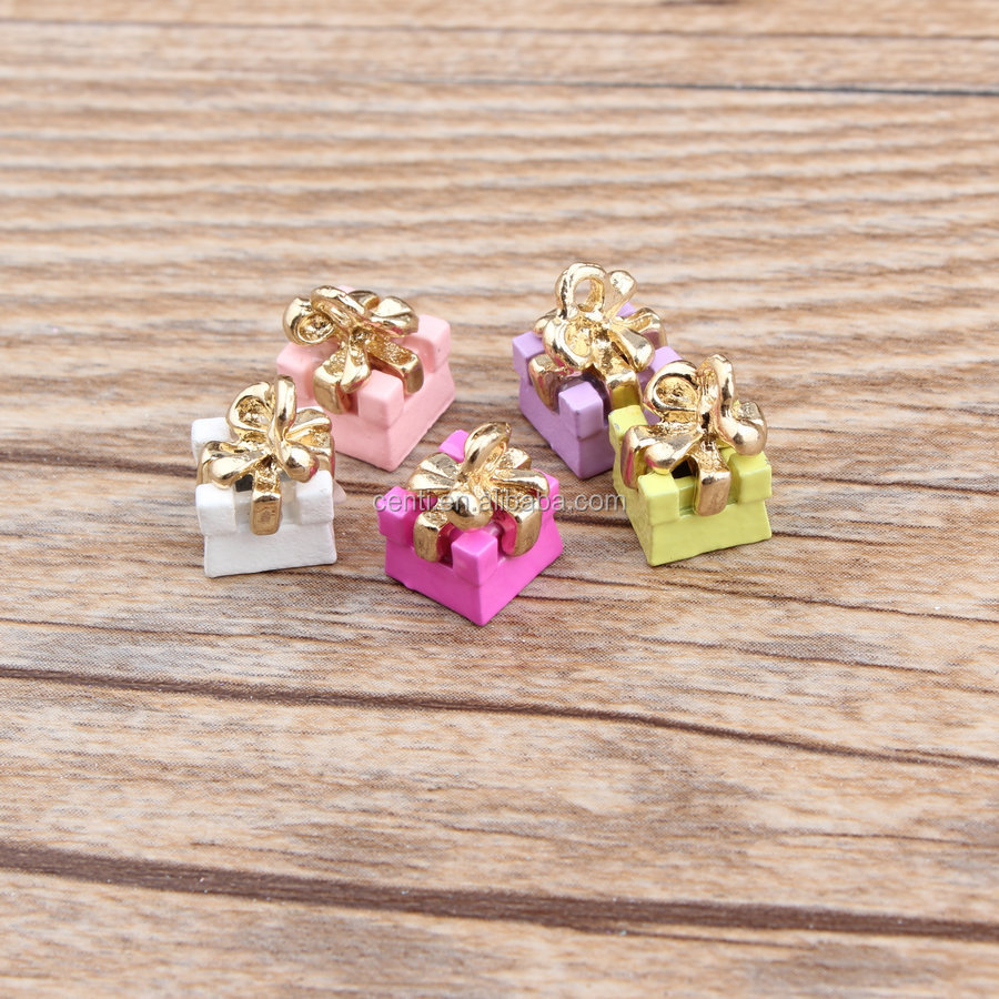 Candy colour enameled gift box charm jewelry accessory