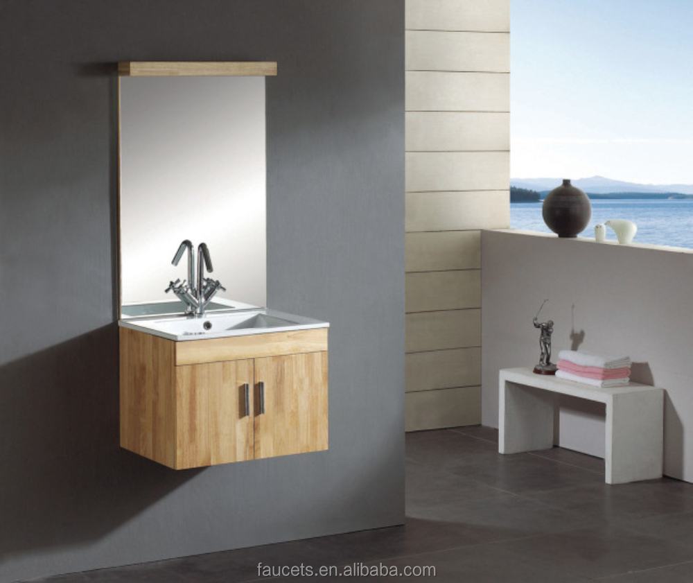 China Made Wholesales Modern Ceramic Counter Single Sink Oak Wall Mounted Bathroom Vanity With Drainage and P Trap Brass Design