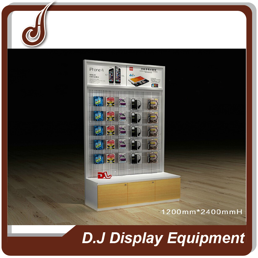 Unique design customized size FR-MDF PD and iron material mall kiosk for cell phone showcase display