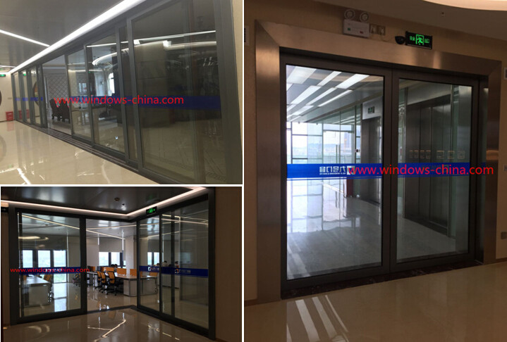 HT102 series commerical aluminum corner glass sliding doors