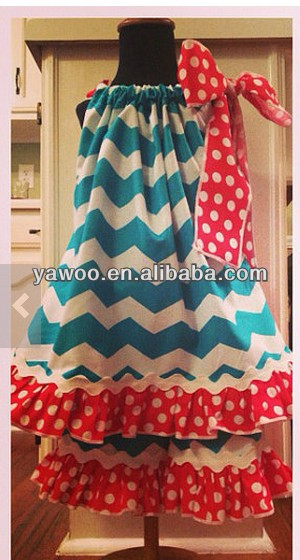 Wholesale children girl zigzag ruffled outfit boutique chevron clothing summer outfit infant gorgeous teen girl polka dot wear