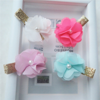 New design shiny kids lovely hair clip chiffon flower with pearl children hair accessories baby hair clip